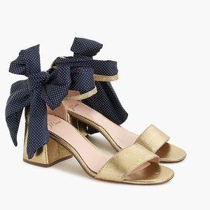 J Crew EUC metallic gold ankle tie Penny sandals
